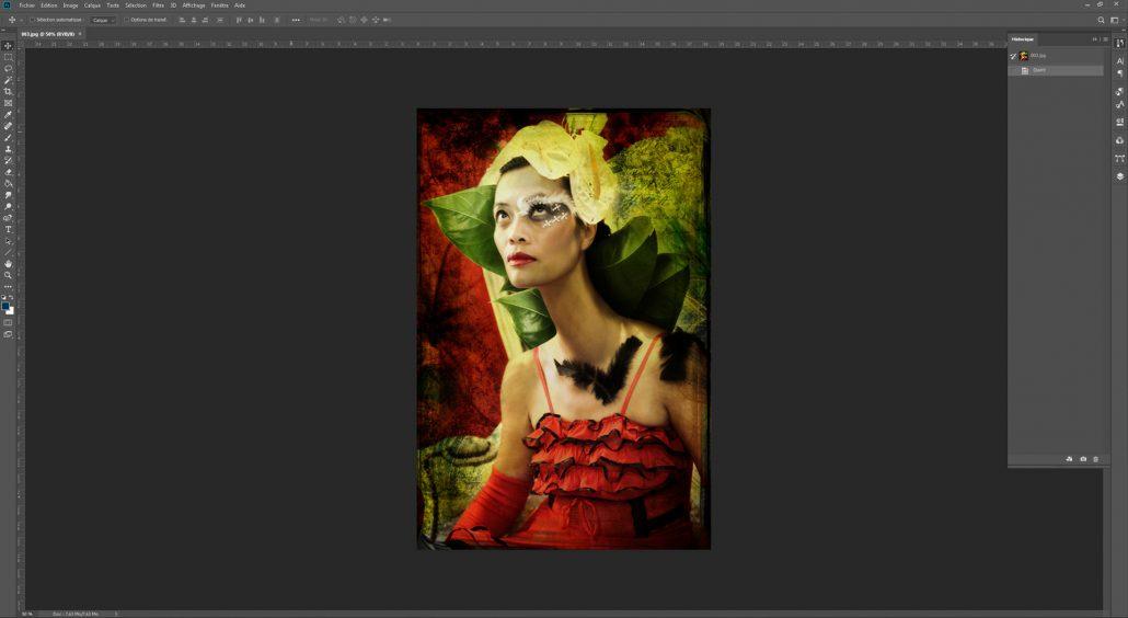 Capture d'écran de l'interface de Photoshop 20.0.1