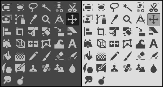 Jeux d'icones du Gimp 2.10. Copyright image : gimp.org